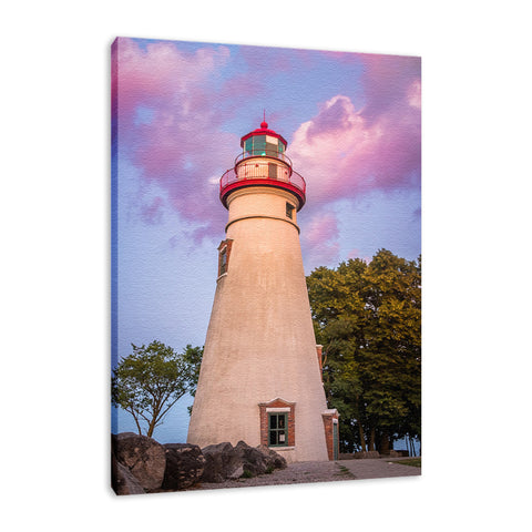 Marblehead Lighthouse at Sunset Landscape Fine Art Canvas Wall Art Prints