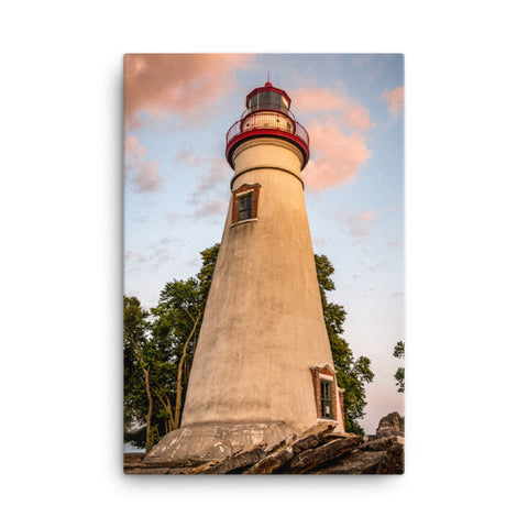 Marblehead Lighthouse at Sunset From the Shore Canvas Wall Art Prints