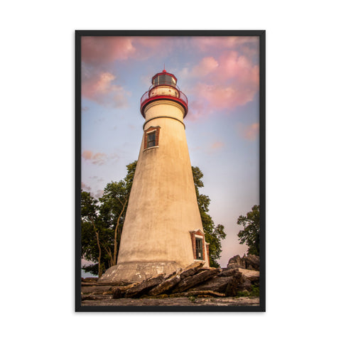 Marblehead Lighthouse at Sunset From the Shore Framed Photo Paper Wall Art Prints