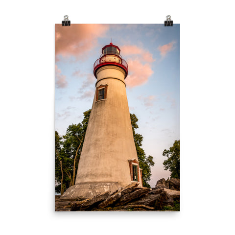 Marblehead Lighthouse at Sunset From the Shore Landscape Photo Loose Wall Art Print