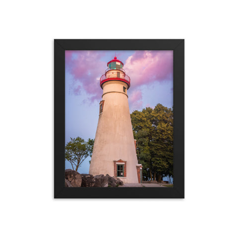 Marblehead Lighthouse at Sunset Landscape Framed Photo Paper Wall Art Prints