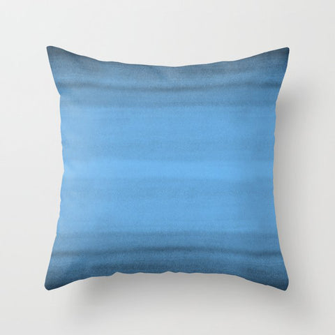Mid Tone Blue Watercolor Brushstrokes Line Pattern Pairs To 2020 Color of the Year Chinese Porcelain Throw Pillow
