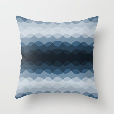 Mid Tone Ocean Blue Overlapping Wavy Line Pattern Pairs To 2020 Color of the Year Chinese Porcelain Throw Pillow
