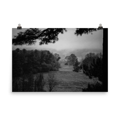 Mist of Valley Forge Black and White Landscape Photo Loose Wall Art Prints