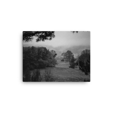 Mist of Valley Forge Black and White Rural Landscape Canvas Wall Art Prints