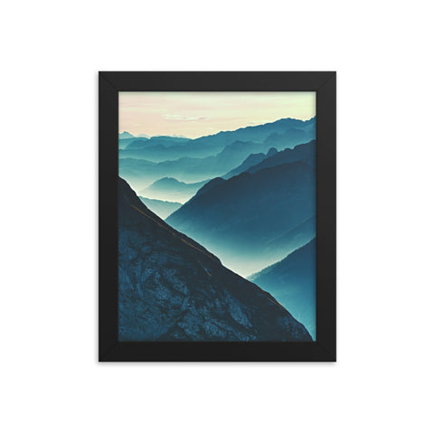 Misty Blue Silhouette Mountain Range Framed Photo Paper Wall Art Prints