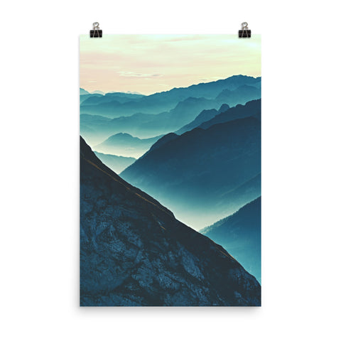 Misty Blue Silhouette Mountain Range Landscape Photo Loose Wall Art Print