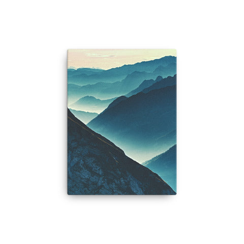 Misty Blue Silhouette Mountain Range Rural Landscape Canvas Wall Art Prints