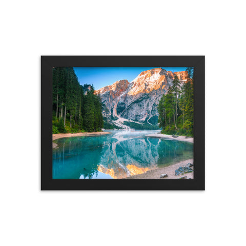 Misty Lake and Snow-cap Mountain Reflections Framed Photo Paper Wall Art Prints