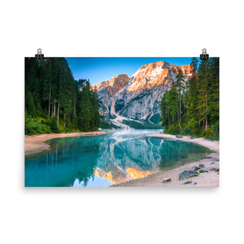 Misty Lake and Snow-cap Mountain Reflections Landscape Photo Loose Wall Art Prints