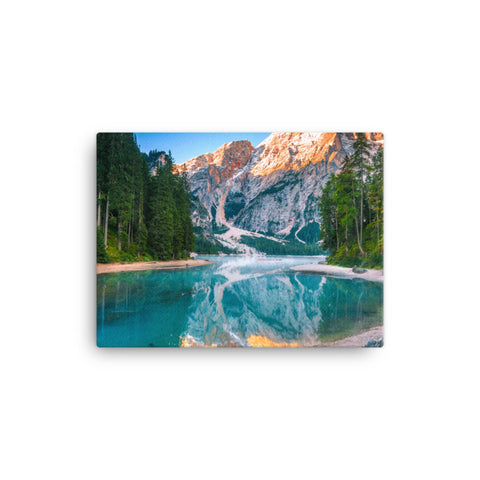 Misty Lake and Snow-cap Mountain Reflections Rural Landscape Canvas Wall Art Prints