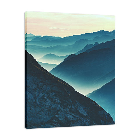 Misty Blue Silhouette Mountain Range Landscape Fine Art Canvas Wall Art Prints