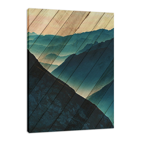 Faux Wood Misty Blue Silhouette Mountain Range Landscape Fine Art Canvas Wall Art Prints