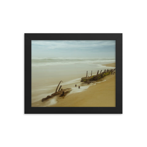 Misty Shipwreck Coastal Landscape Framed Photo Paper Wall Art Prints