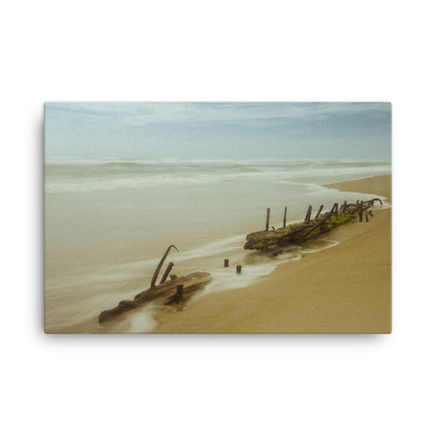 Misty Shipwreck on the Beach Coastal Landscape Canvas Wall Art Prints