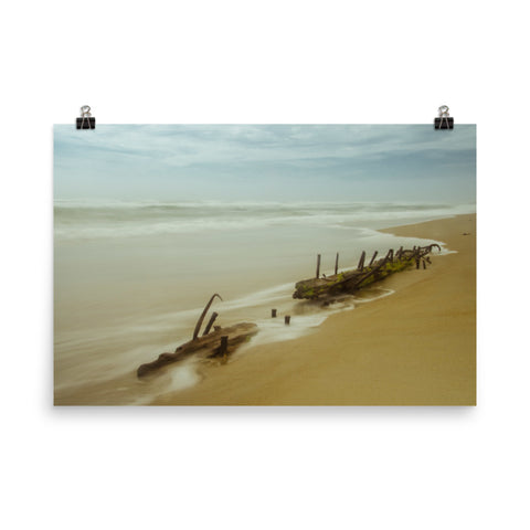 Misty Shipwreck on the Beach Landscape Photo Loose Wall Art Prints