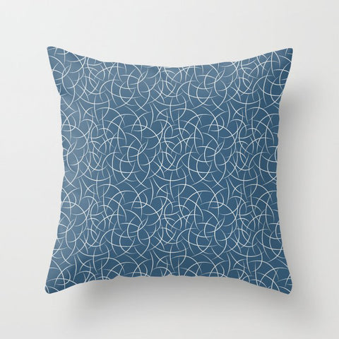 Off White Abstract Crescent Shape Pattern on Blue Pairs To 2020 Color of the Year Chinese Porcelain Throw Pillow