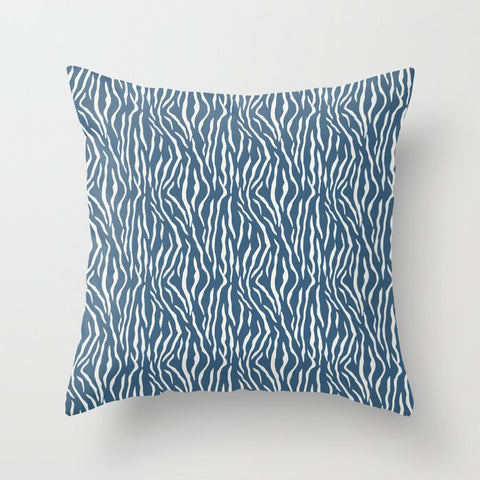 Off White Bold Tiger Stripes Pattern on Blue Pairs To 2020 Color of the Year Chinese Porcelain Throw Pillow