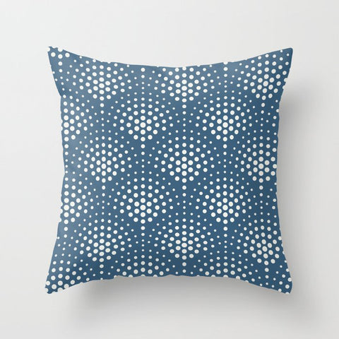 Off White Polka Dot Scallop Pattern on Blue Pairs To 2020 Color of the Year Chinese Porcelain Throw Pillow