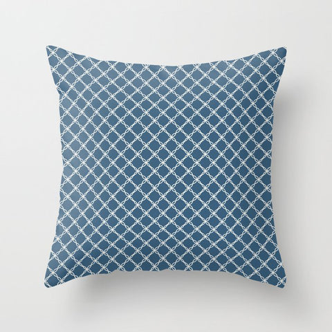 Off White Scroll Grid Pattern on Blue Pairs To 2020 Color of the Year Chinese Porcelain PPG1160-6 Throw Pillow
