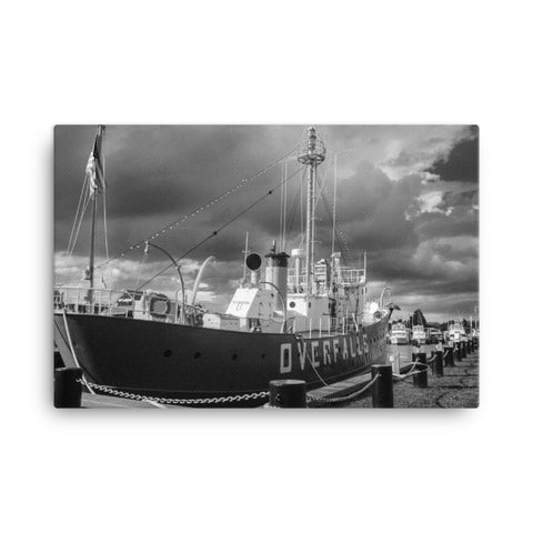 Overfalls Lightship Black and White Coastal Landscape Canvas Wall Art Prints