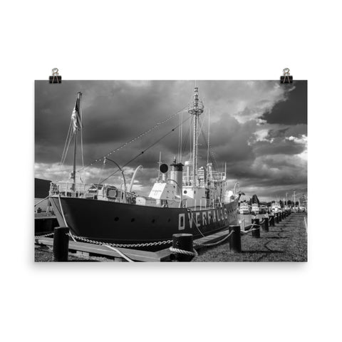 Overfalls Lightship Black and White Landscape Photo Loose Wall Art Prints