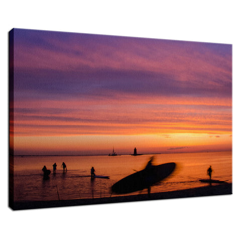 Paddle Surfer in the Sunset Coastal Landscape Fine Art Canvas Wall Art Prints