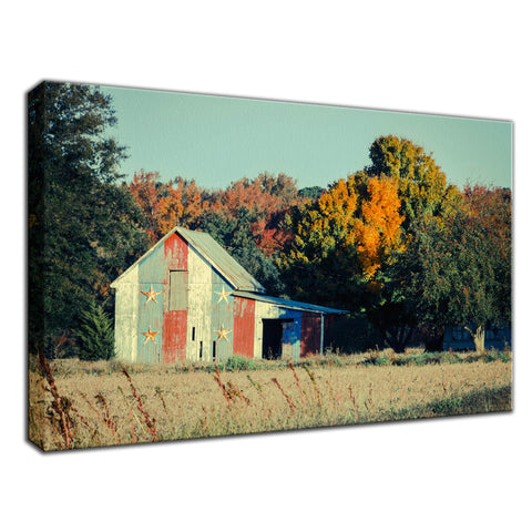 Patriotic Weathered Barn in Field Cross Processed Fine Art Canvas Wall Art Prints