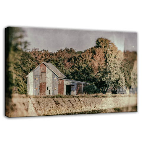 Patriotic Weathered Barn in Field Glass Plate Effect Fine Art Canvas Wall Art Prints