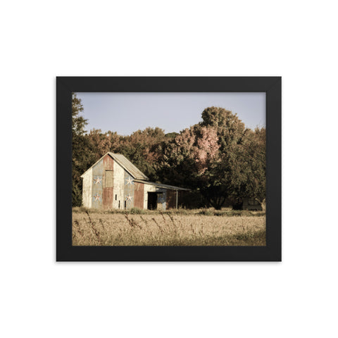 Patriotic Barn in Field Aged Effect Framed Photo Paper Wall Art Prints