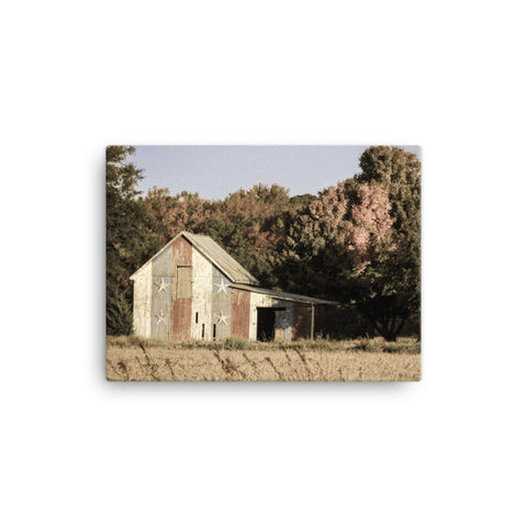 Patriotic Barn in Field Aged Rural Landscape Canvas Wall Art Prints