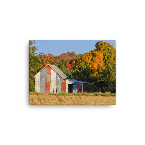 Patriotic Barn in Field Color Rural Landscape Canvas Wall Art Prints