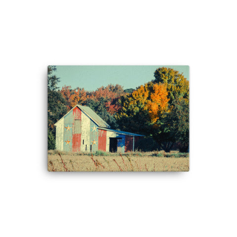 Patriotic Barn in Field Cross Processed Rural Landscape Canvas Wall Art Prints