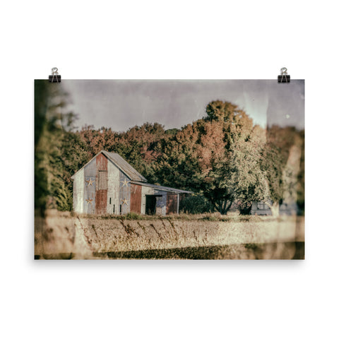 Patriotic Barn in Field Glass Plate Landscape Photo Loose Wall Art Prints