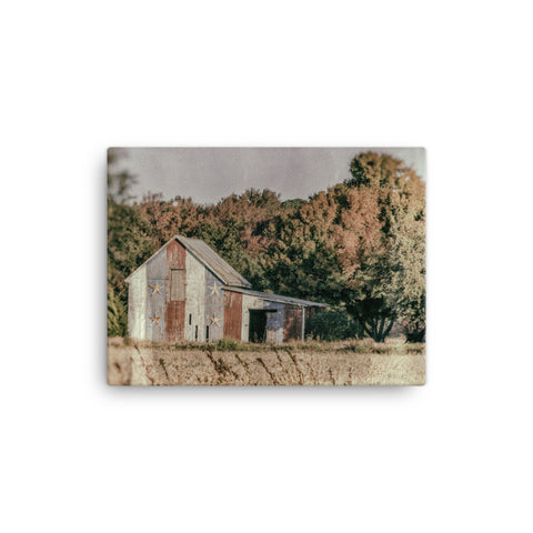 Patriotic Barn in Field Glass Plate Rural Landscape Canvas Wall Art Prints