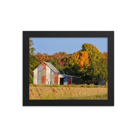 Patriotic Barn in Field Rural Landscape Framed Photo Paper Wall Art Prints