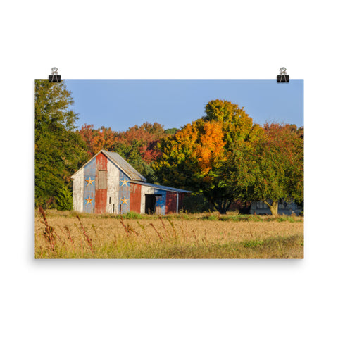 Patriotic Barn in Field Traditional Color Landscape Photo Loose Wall Art Prints