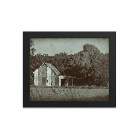 Patriotic Barn in Field Vintage Black and White Glass Plate Framed Photo Paper Wall Art Prints