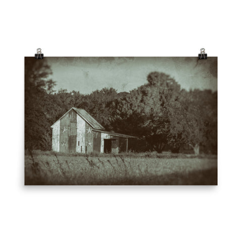 Patriotic Barn in Field Vintage Black and White Landscape Photo Loose Wall Art Prints