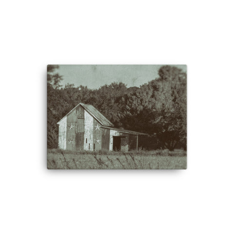 Patriotic Barn in Field Vintage Black and White Rural Landscape Canvas Wall Art Prints