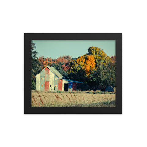 Patriotic Weathered Barn in Field - Cross Processed Framed Photo Paper Wall Art Prints