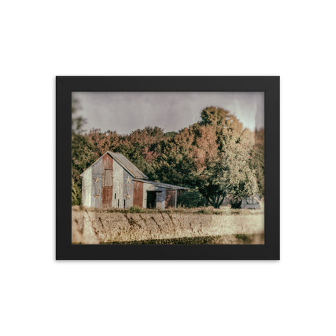 Patriotic Weathered Barn in Field - Glass Plate Framed Photo Paper Wall Art Prints