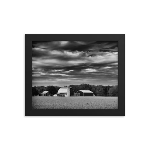 Red Barn in Golden Field Black and White Framed Photo Paper Wall Art Prints