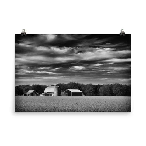 Red Barn in Golden Field Black and White Landscape Photo Loose Wall Art Prints