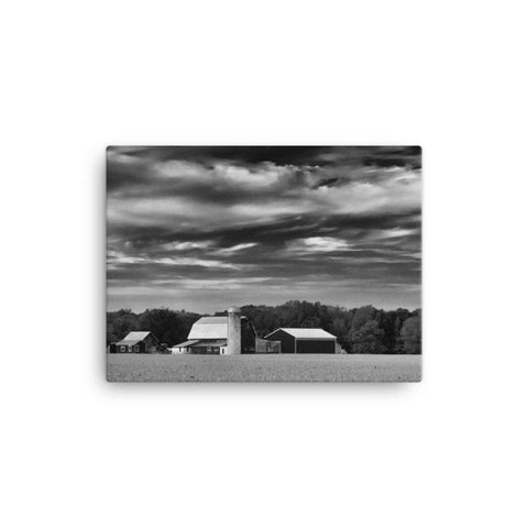 Red Barn in Golden Field Black and White Rural Landscape Canvas Wall Art Prints