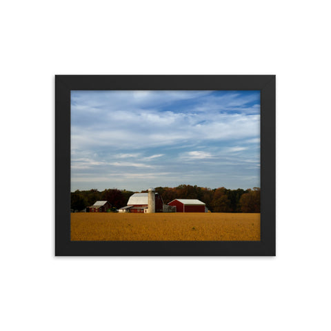 Red Barn in Golden Field Rural Landscape Framed Photo Paper Wall Art Prints