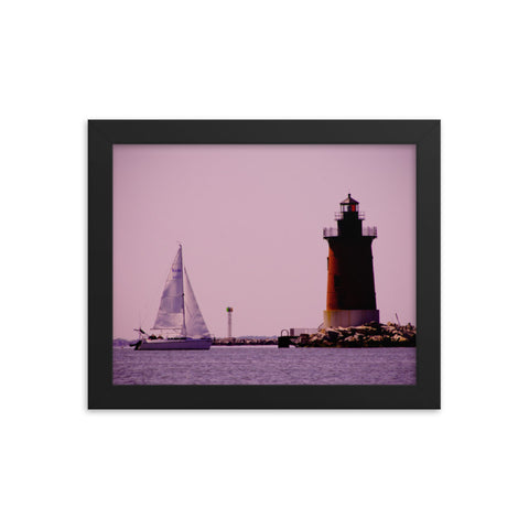 Sailing in the Bay Beach Coastal Landscape Framed Photo Paper Wall Art Prints