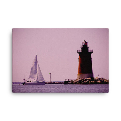 Sailing in the Bay Color Coastal Landscape Canvas Wall Art Prints