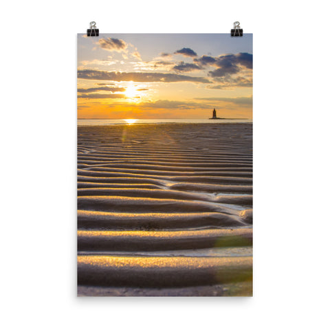 Sandbars and Sunset Landscape Photo Loose Wall Art Print