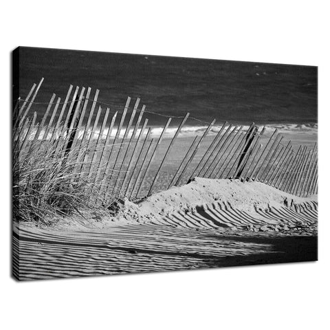 Sandy Beach Fence at the Shore Landscape Fine Art Canvas Wall Art Prints